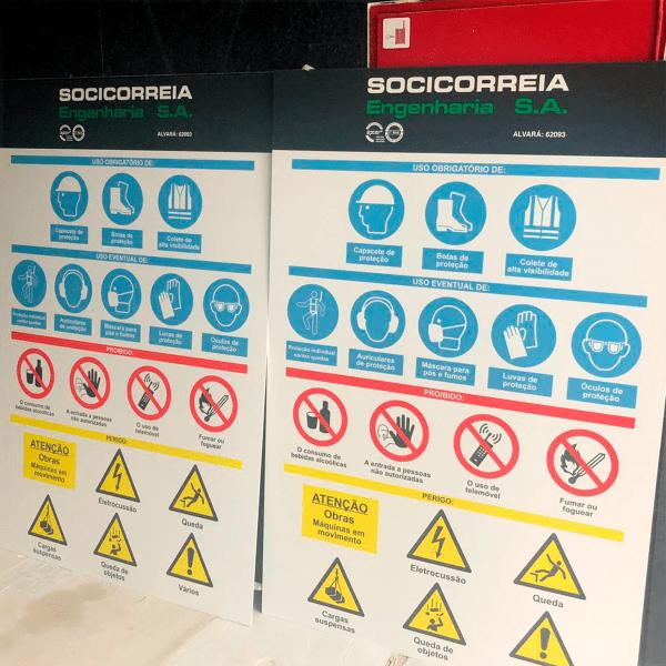 Placas de licenciamento de obra - Socicorreia